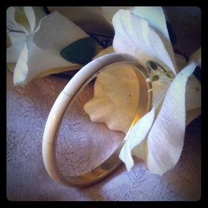 Vintage Brass Bangle Bracelet w/Bone Inlay